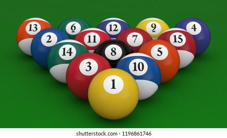 3D illustration billiard balls