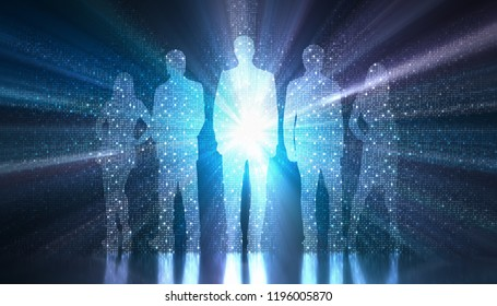 3D illustration. Binary light coming out of the silhouette of a group of people. Concept image of the digitized and globalized world.