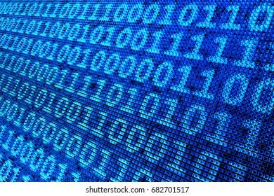 3D illustration - binary pixel