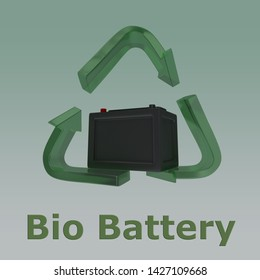 3D illustration of Bio Battery title with a battery in a recycling symbol as a background