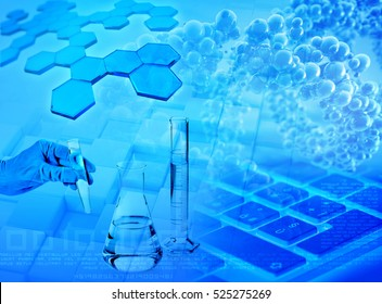 3d illustration of biochemical research and medical analysis abstract blue background