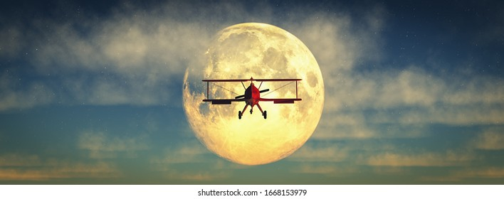 3d illustration of a biplane and moon