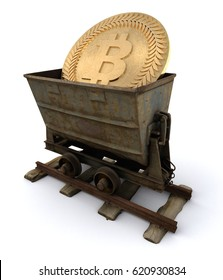 3D Illustration of bitcoin currency inside a mining cart