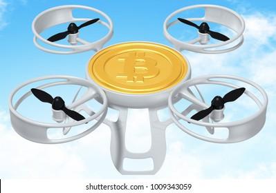 3D Illustration Bitcoin Drone Concept