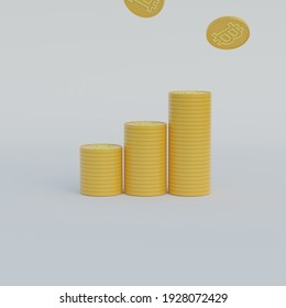 3d illustration of bitcoin graphic stonk