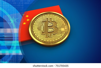 3d illustration of bitcoin over blue background with china flag