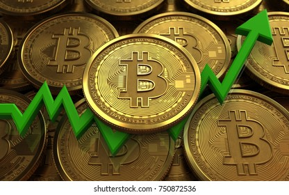 3d illustration of bitcoin over coins stacks background with