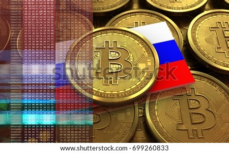 3d illustration of bitcoin over coins stacks background with Russia flag