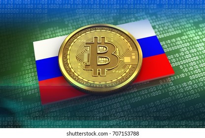 3d illustration of bitcoin over green binary background with Russia flag