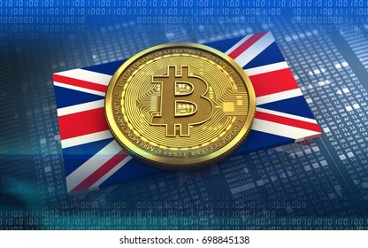 3d illustration of bitcoin over hexadecimal background with UK flag