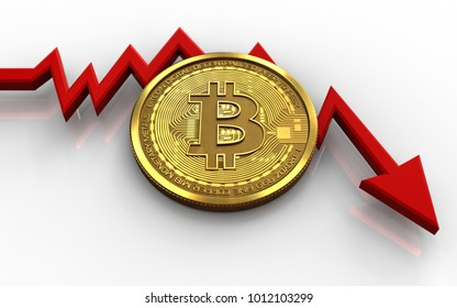 3d illustration of bitcoin over white background with failure diagram