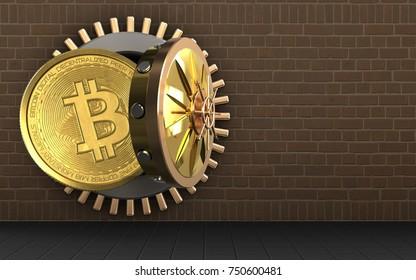 3d illustration of bitcoin storage over bricks background