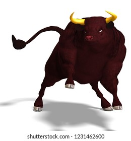 3D illustration of a black bull over white