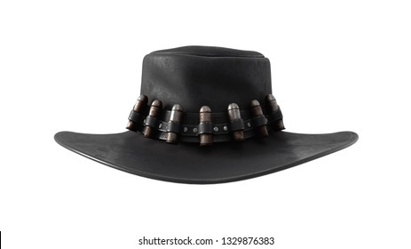 3d illustration of black cowboy hat with rusty bullets. Western gunslinger cowboy hat. Traditional accessories of American cowboys. Gangster hat of the wild west. 3D rendering on white background.