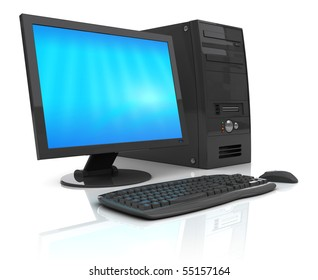 3d illustration of black desktop computer, over white background