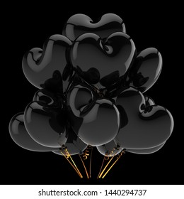 3d illustration of black heart shaped love party balloons bunch. sadness depression icon concept. isolated on black