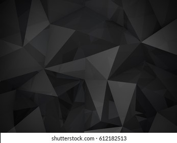 3D Illustration - Black low poly texture