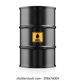 3D illustration Black Metal Oil Barrel, Industrial Concept.