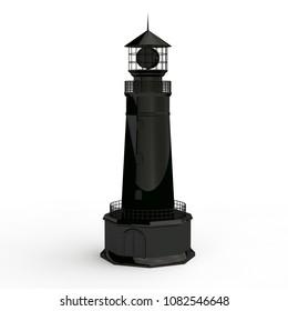 3D Illustration Of A Black Model Coastal Lighthouse The Symbol