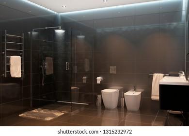 3d illustration. Black modern shower room in the evening