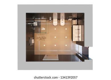 3d illustration of black modern shower room. Top view