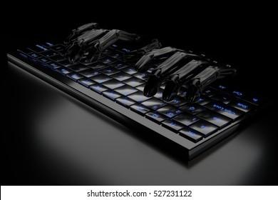 3d illustration black robot hands on the keyboard
