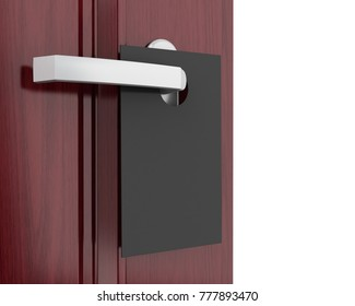 3d illustration. Black sign on the door handle. Isolated white background