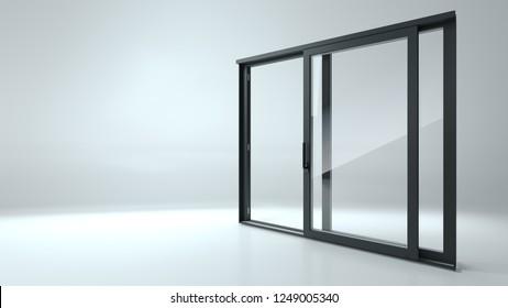 3d illustration. Black sliding door in the shop or windows. Background for banner. Advertising. Modern construction technologies