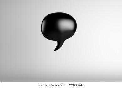 3d illustration of black speech bubble