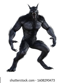 3d illustration of black werewolf