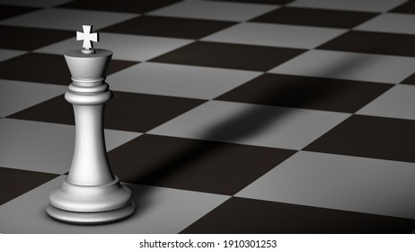3D illustration: Black and white illustration of a macro view of a white king with long shadow on a chessboard