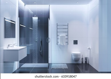 3d illustration of Black and white modern shower room in the evening