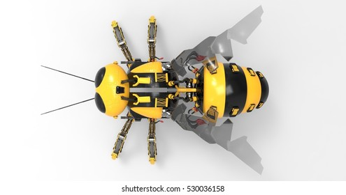 3D Illustration Of A Black And Yellow Mechanical Robot Bee On A Light Masked Transparent Background