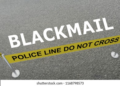 3D illustration of BLACKMAIL title on the ground in a police arena