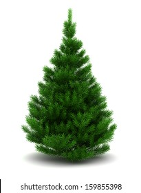 3d illustration of blank christmas tree, isolated over white background