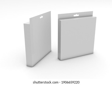 3D illustration of a blank mockup of LED panel packaging and lighting