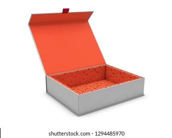 3d Illustration of blank open rectangular box, isolated white background.