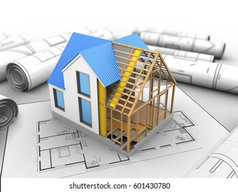3d illustration of blank over house plan background with house construction