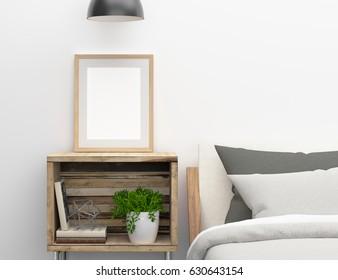 3d Illustration. blank poster frame mockup hang on bed side tabl