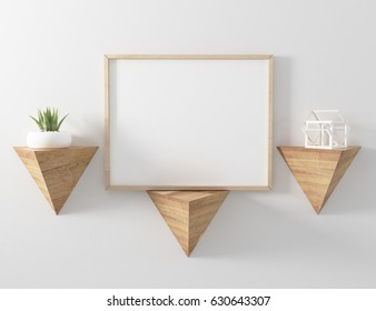 3d Illustration. blank poster frame mockup hang on triangle floa