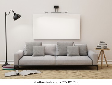 3D illustration of blank poster on the wall of living room, background