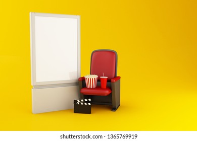 3d illustration. Blank signboard, Cinema clapper board, popcorn and drink on yellow background. Cinema concept.