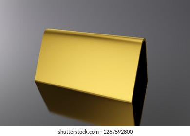 3D Illustration - Blank Table Card gold on black