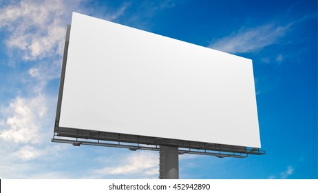 3D illustration of blank white billboard against blue sky.