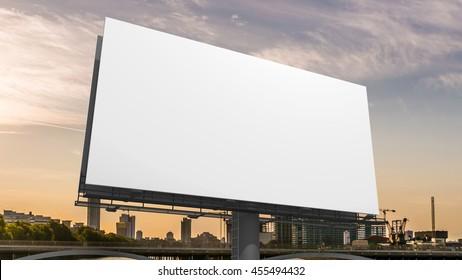 3D illustration of blank white billboard against sky.