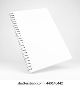 3d illustration of blank white notebook
