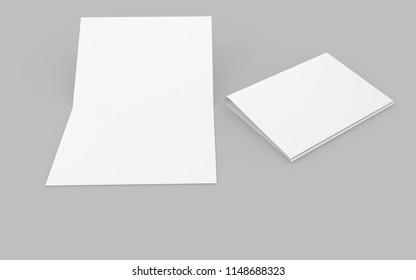3D illustration of blank/empty paper or mock up.