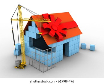 3d illustration of block house over white background with gift ribbon and construction site