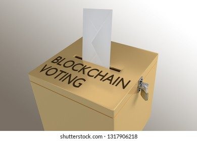 3D illustration of BLOCKCHAIN VOTING script on a ballot box, and an voting envelope been inserted into the ballot box, isolated over a colored gradient.
