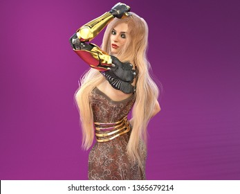 3D Illustration of a Blonde Woman With a Prosthetic Arm